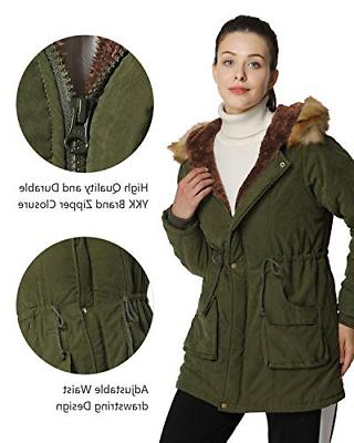 4HOW Womens Coat Winter Long Warm Jacket Parkas Outdoor Army