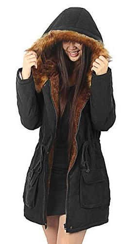4HOW Womens Hooded Winter Lined Parkas Coat Black 14