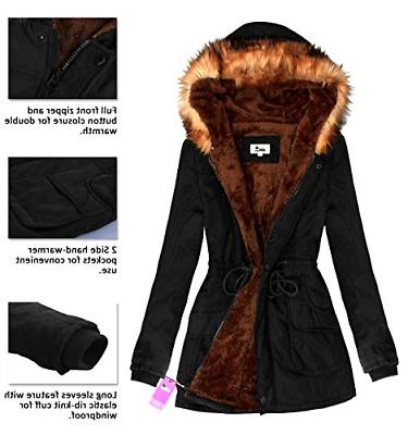 4HOW Womens Parka Hooded Warm Lined Faux Fur Long Parkas