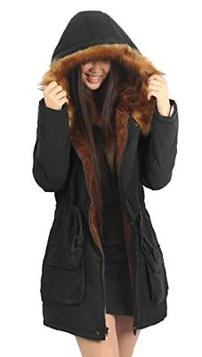 4HOW Womens Hooded Coat Lined Faux Parkas