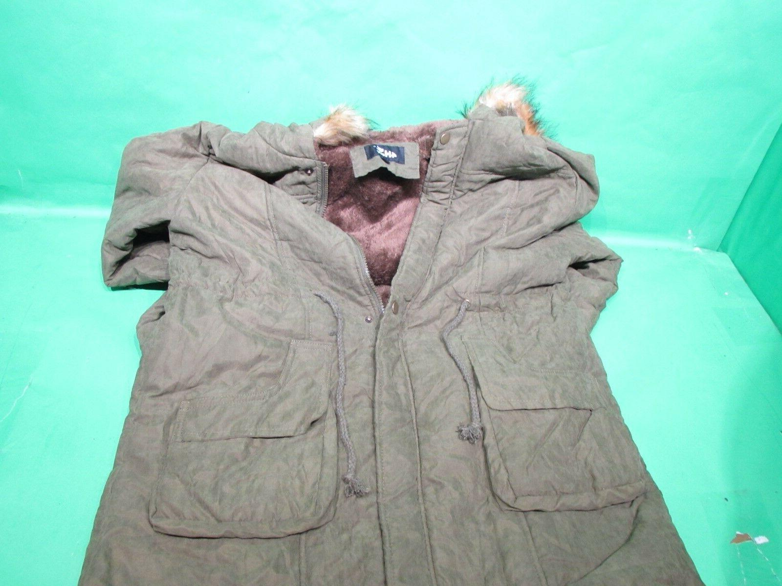 4HOW Womens Hooded Winter Fur Green