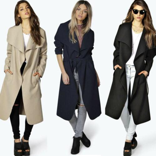 Womens Trench Long Jacket Parka Outwear US