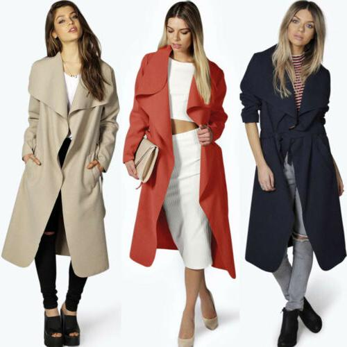 Womens Winter Trench Long Wool Jacket US