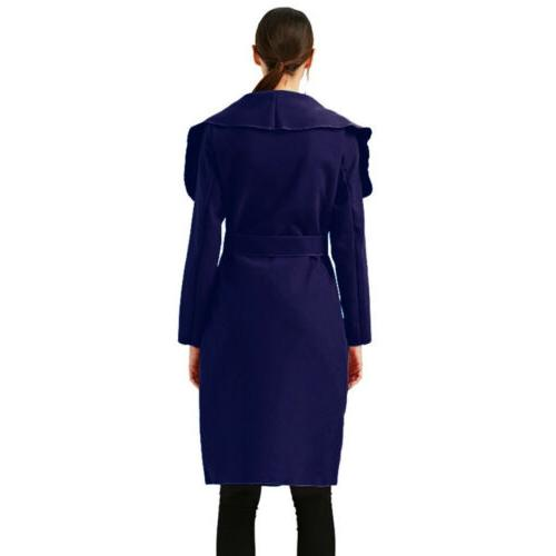 Womens Slim Trench Long Wool Jacket Parka Cardigans