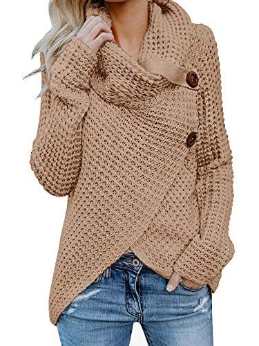 womens sweaters casual cowl neck chunky cable