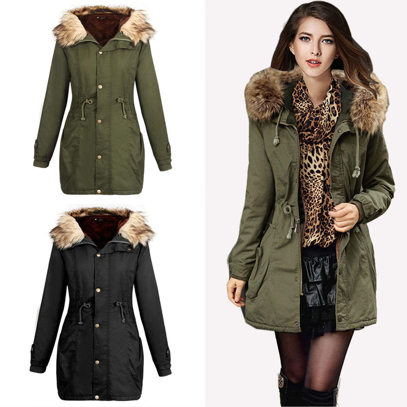 Womens Thicken Collar Hooded Warm Coat Overcoat