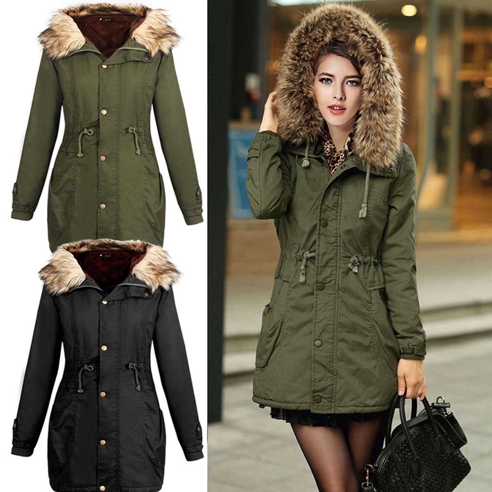 womens thicken fur collar hooded outwear jacket