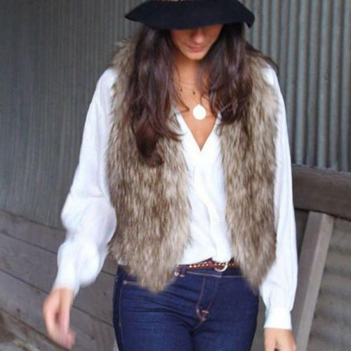 Womens Vest Winter Hoodie Casual Faux Sherpa
