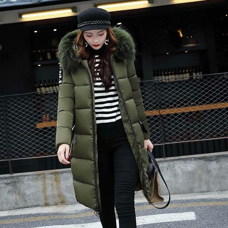 Womens Warm Hooded Long Down Jacket Winter Quilted Padded Coat