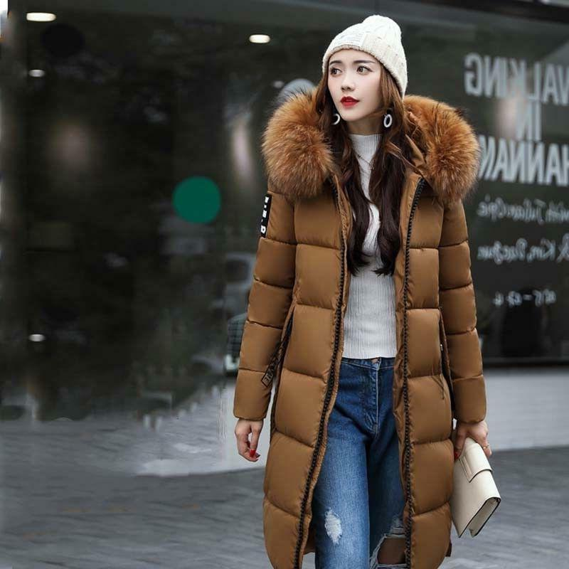 Womens Collar Hooded Long Winter Quilted Coat