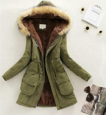 Womens Long Coat Fur Slim Outwear Coats