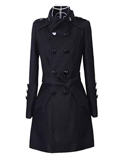 Tanming Womens Lapel Breasted Trench Coat