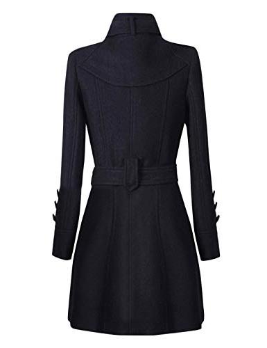 Tanming Womens Winter Lapel Wool Double Breasted Pea Coat Trench Coat