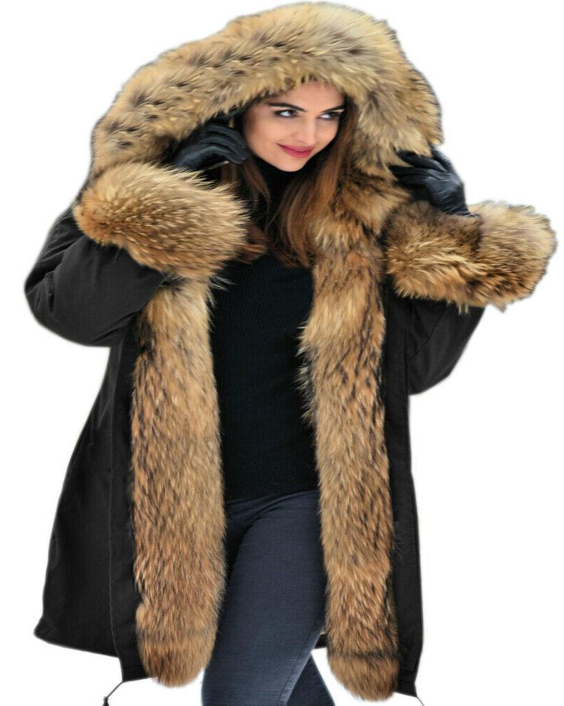 Ladies Fur Womens Winter Long Parka