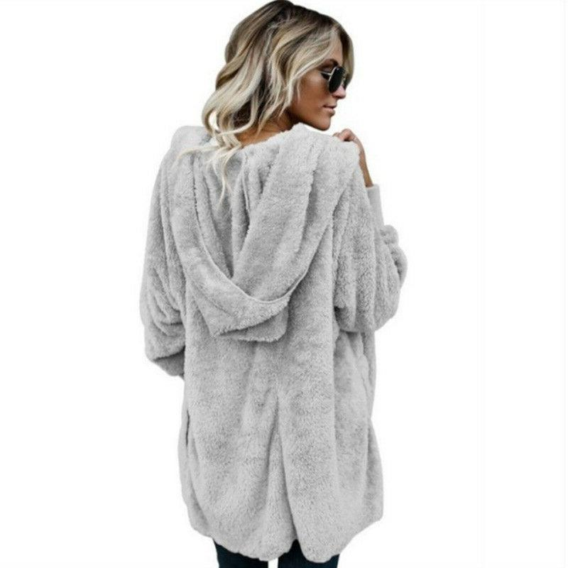 Womens Fur Jacket Outerwear Tops Hooded Fluffy Coat