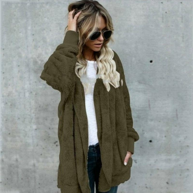 Winter Women Fuzzy Coats Sweater Outwear Long Tops
