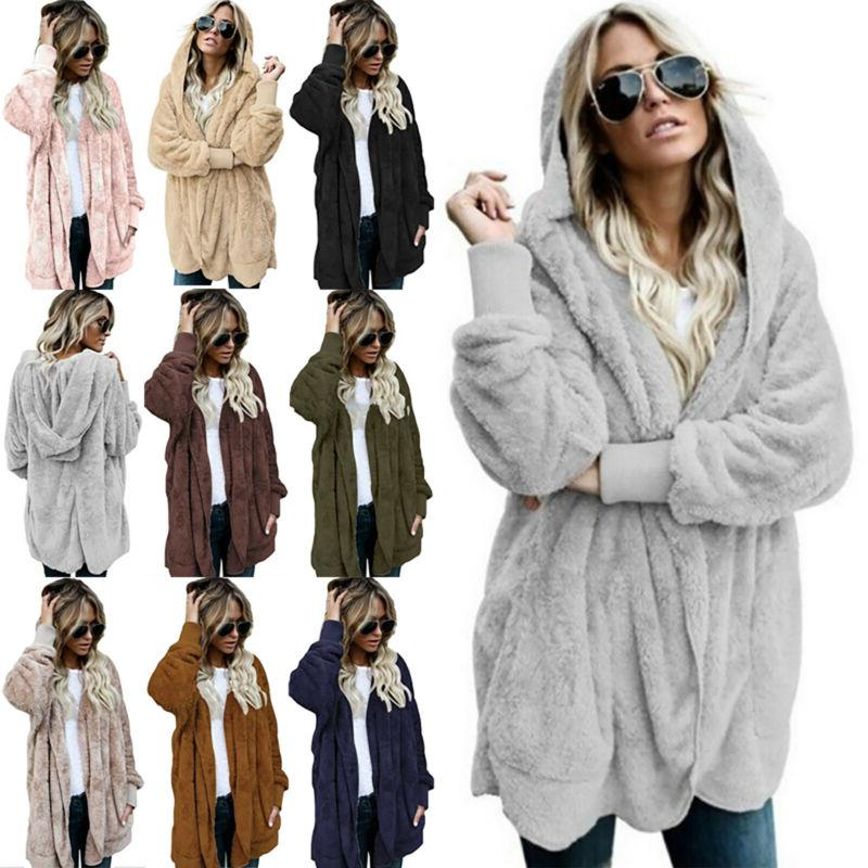 Winter Fluffy Coats Hooded Jacket Sweater