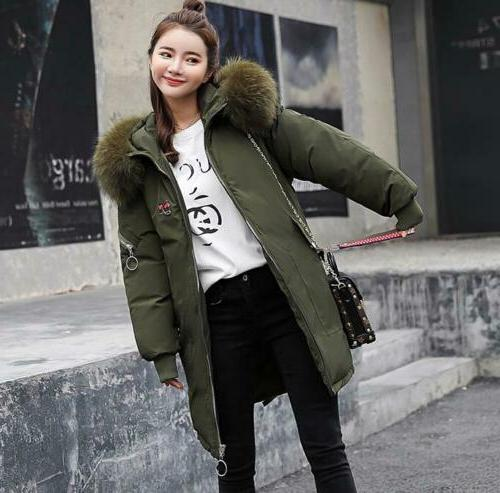 Womens Winter Hooded Down Long Quilted Fur Collar Puffer Parka Coats