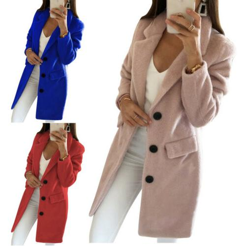 Womens Wool Long Coat Parka Overcoat