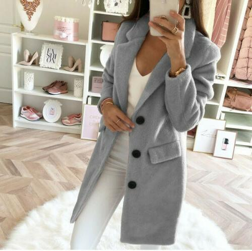 Womens Wool Long Coat Parka Jacket Overcoat