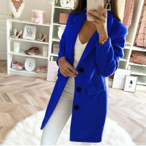 Womens Winter Wool Lapel Long Trench Parka