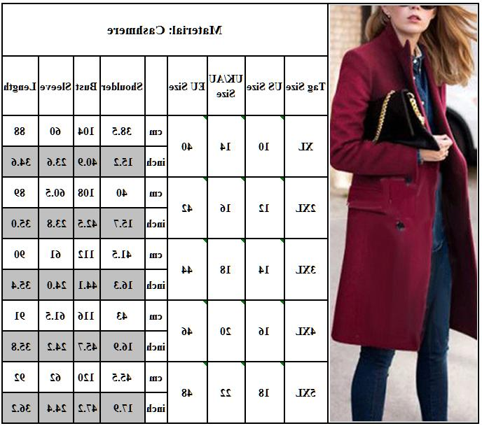 Womens Winter Lapel Trench Button Size