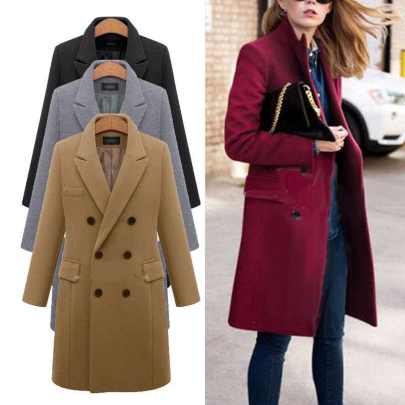 womens winter wool lapel trench coat parka