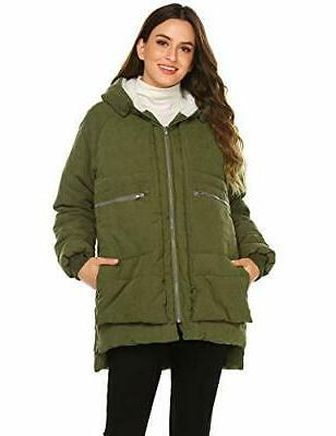 womens winter zip front down jackets hooded