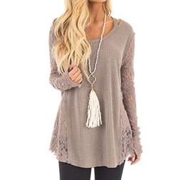 irene inevent Lace Knitting Shirt Women Long Sleeve Casual B