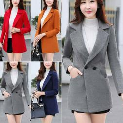 Ladies Casual Fit Jackets Coats Winter Warmer Woolen Trench