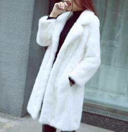 Ladies White Faux Fur Lapel Long Loose Coats Overcoats Winte