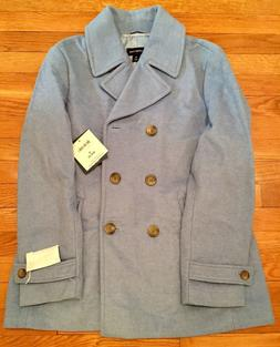 Land's End Pea Coat Women Size 12 Cove Blue Heather Wool for