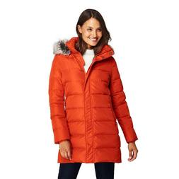 Lands' End Women's Winter Long Down Coat with Faux Fur Hood