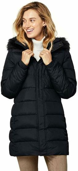 Lands' End Women's Long Down Coat with Removable Faux Fur
