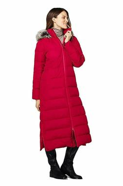 Lands End XL Women's Winter Long Down Coat with Faux Fur Hoo