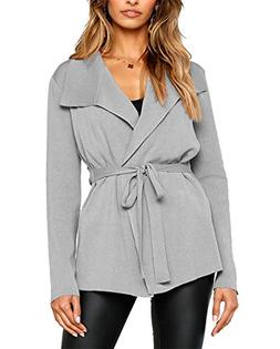 BTFBM Women Lapel Long Sleeve Knit Sweater Coat Draped Open