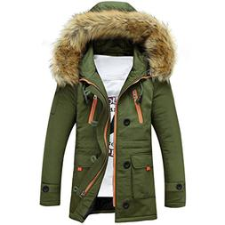Sun Lorence Men Lengthened Fur Hooded Down Coats Heavy Parka