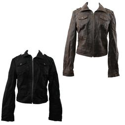 Levi Women's Motorcycle Jacket Cropped Fitted Suede Leather