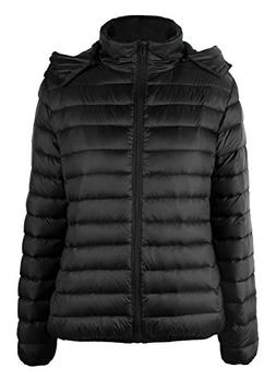 iLoveSIA Womens Lightweight Hooded Down Jacket US 10 Black