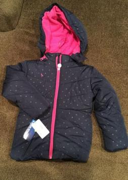 Nautica Little Girls' Printed Puffer Coat with Removable Hoo