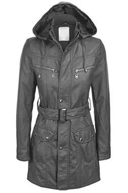 Lock and Love LL WJC741 Womens Hooded Faux Leather Trench Pa