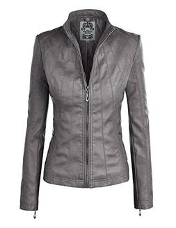 Lock and Love LL WJC877 Womens Panelled Faux Leather Moto Ja
