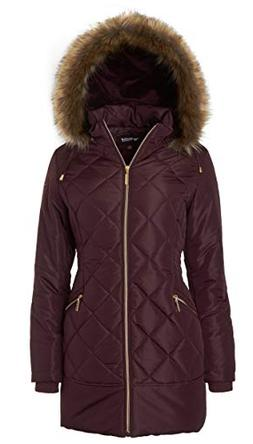 Women's Long Down Alternative Puffer Coat Zip-Off Plush Line