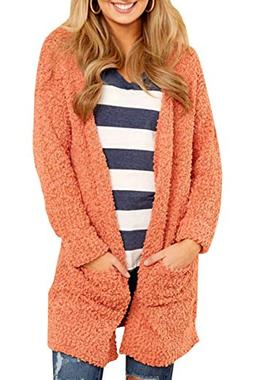 Womens Long Oversized Open Front Cardigan Sweater Fall Fuzzy