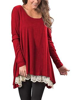 Veranee Women's Long Sleeve Round Neck Lace Splicing Casual