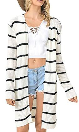 Beautife Womens Long Sleeve Striped Knit Draped Open Front L