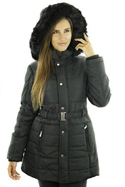 Sportoli Women's Longer Length Belted Winter Puffer Coat wit