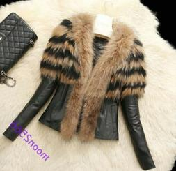 Luxury Womens Vogue Faux Fur Collar Leather Warm Jackets Win