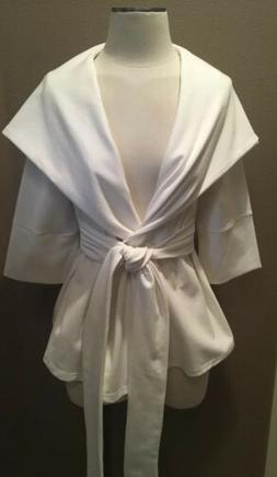 XTAREN M WINTER WHITE HOODED WRAP JACKET COAT VERY PRETTY!
