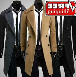 Men Double Breasted Trench Coat Winter Warm Long Jacket Soli